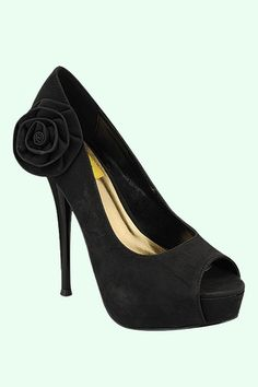 Black Rose Suede Peep Toe Pump – GiGi's Shoe Party Sales