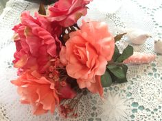 WEDDING BOUQUET with a bright Coral Silk Peony by ArkSouthernBelle