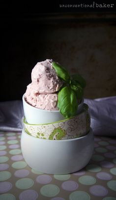 Balsamic Strawberry & Basil Dairy-Free Ice Cream Recipe {Free from: gluten & grains, eggs, nuts, and refined sugar}