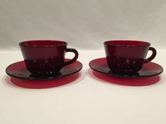 Royal Ruby Anchor Hocking Red Glass Set of 2 Cups and Saucers Vintage  #AnchorHocking