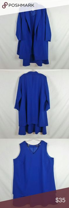 """NWOT Roaman's Duster Jacket With Dress Size 34W Plus size 34W. New without tag (display item). Dress: armpit to armpit: 29"""", length 47"""" & material 100% polyester. Jacket: armpit to armpit: 31"""", length 41"""". Add to a bundle to receive 20% off 3 or more items. Offers welcomed. Bin p. Roaman's Dresses"""