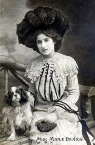 Marie Dainton (1881 – 1938) who was born in Russia but established herself in the music halls of Britain in the late Victorian and Edwardian eras. in the early years of the last century many top stars often owned or were photographed with Cavalier type spaniels for their publicity photographs.