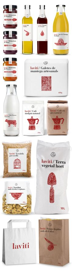 Branding and packaging design for LaViti Agrobotiga. The design unifies products of different local entrepreneurs. Creating a handheld pictogram using a stamp, that provides a handmade character.