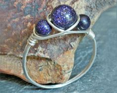 Blue Goldstone Ring - Argentium Silver Ring, Mother Daughter Jewelry, Goldstone Jewelry, Best Friend Rings, Natural Stone Jewelry, Handmade
