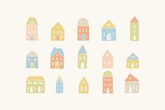 Houses & trees by kondratya on Creative Market