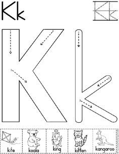 Alphabet Letter K Worksheet | Preschool Printable Activity | Standard Block Font