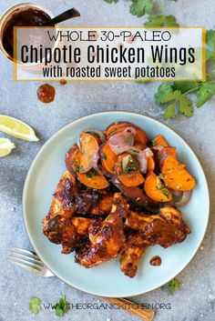 "Today Sun Basket is sharing this recipe for their ""Chipotle Roasted Chicken Wings with Sweet Potatoes and Salsa Verde"" with me. And I, in turn am sharing it with you! And wait until you see how simple it is to make. (This post contains affiliate links. I may make a commission off sales which allows"