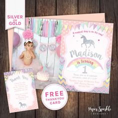 Unicorn invitation Unicorn party First birthday invitation