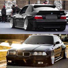 BMW black widebody slammed Source by Nikhilkemraj E36 Sedan, E36 Coupe, Bmw E36 Drift, E36 Compact, Bmw Old, Carros Bmw, Bmw Design, Bmw Classic Cars, Bmw 1 Series