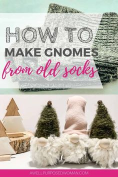 Learn how to make adorable gnomes out of old socks! These Nordic friends will wedge their way into anyone's heart. Learn how to make diy sock gnomes the easy way! #sockgnomes #diygnomes #christmasgnomes #gnomes Handmade Christmas Decorations, Diy Christmas Gifts, Christmas Ideas, Holiday Ideas, Christmas Ornaments, Tree Crafts, Holiday Crafts, Gnome Tutorial, Fabric Christmas Trees