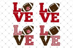Free for 24 hours. Football Love SVG Cut Files for Cricut and Silhouette.