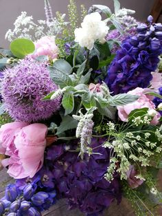 Alliums, Peonies, Wild Ami, Mint, Hydrangea, Delphiniums and Green Bell