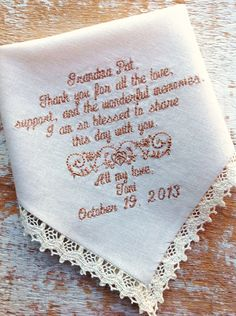 A personal favorite from my Etsy shop https://www.etsy.com/listing/163746061/embroidered-wedding-handkerchief