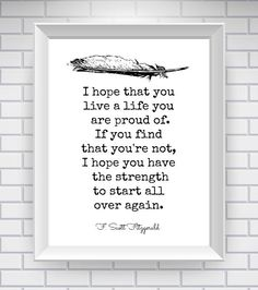F. Scott Fitzgerald Print, Literary Quote Typography Print - Black and White -  Quote written by Eric Roth for Benjamin Button screenplay, misattributed to Fitzgerald