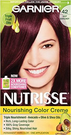 Garnier Nutrisse Nourishing Hair Color Creme, 42 Deep Burgundy (Black Cherry), 3 Count ** To view further for this article, visit the image link. #hairhealth