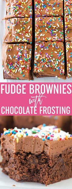 These chocolate frosted brownies start with fudge brownies and are topped with a chocolate buttercream frosting (with a secret ingredient!). via /browneyedbaker/