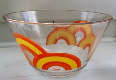 Vintage Mod Colony Large Glass Mixing Bowl With Retro Rainbow Decor, Colony Glassware, Mod Serving Bowl, Mod Kitchen, 1970's Kitchen Decor by Lalecreations on Etsy