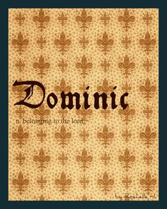 Baby Boy Name: Dominic. Meaning: Belonging To The Lord. Origin: Latin. http://www.pinterest.com/vintagedaydream/baby-names/