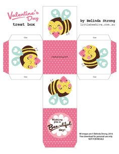 FREE printable gift box with bee and Valentine's heart / We Love to Illustrate:
