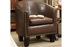 Rosevera Club Chair Dark Brown – Modern and stylish designed featuring comfort and affordability of this chair at the same time. This barrel design arm chair enhances the appearance of your room no matter what interior coordination you are looking for. Living Room Chairs, Living Room Furniture, Home Furniture, Furniture Chairs, Living Rooms, Dining Chairs, Industrial Office Chairs, Industrial Loft, Swivel Barrel Chair