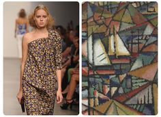 "#Art Inspired Looks #fashion A DétacherSplashes of futurist art showed up on A Détacher's runway, including this one-shoulder dress, whose pattern follows the triangular shapes of Amadeo de Souz-Cardoso's 1913 painting ""Untitled (Boats)."""