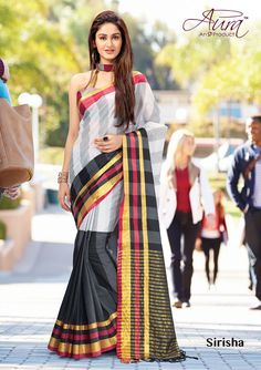 Off White, Grey & Black Color Cotton Party Wear Sarees : Shriti Collection Designer Sarees Online Shopping, Latest Designer Sarees, Designer Sarees Collection, Saree Collection, Indian Attire, Indian Ethnic Wear, Indian Fashion, Womens Fashion, Saree Shopping