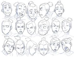 Drawing Facial Expression Expression study, courtesy of Sokka from Avatar: The Last Airbender - animation is a good fallback because the rubbery faces make them more obvious - Character Design Cartoon, Character Sketches, Character Design References, Character Drawing, Character Sheet, Character Illustration, Character Concept, Figure Drawing, Drawing Reference