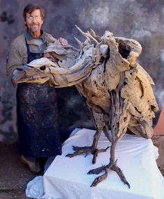 "Ugly is beautiful. This 'larger than life"" driftwood sculpture was purchased by a lawyer. Vulture by Tony Fredriksson"