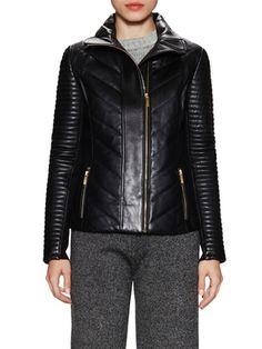 Dion Leather Biker Jacket on Gilt