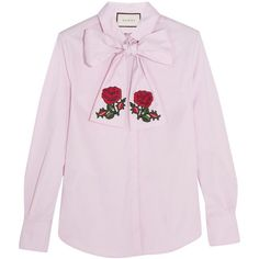 Check out this product: Gucci Embroidered Pussy-Bow Cotton Blouse, Pink #villoid