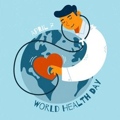 Hand-drawn world heathy day design Free . Medical Wallpaper, National Doctors Day, Website Illustration, World Health Day, Science Background, Celebration Day, Medical Logo, Chalk Drawings, Event Themes