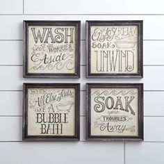 Bath Time Wall Framed Print (Set of 4) | These vintage style prints feature stylized bath time sayings for a charming addition to the bathroom. Aged paper and weathered black frames will make guests think you inherited these artful accents.