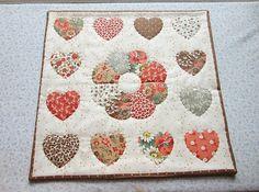vintage fabric orange brown beige and grey hearts by KjsKwilting