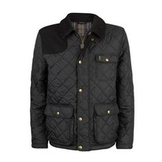 Evan Quilted Jacket by Jack Murphy - Black  Water repellant quilted jacket with cord detail to collar and shoulder, classic check lining, metal puller, metal snap buttons, metal badge at chest pocket, all with Jack Murphy branding. Machine washable