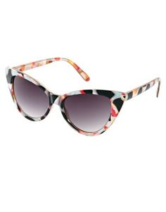 I have an unhealthy sunglass obsession.  I dont need more. Ut these are so cute and cheap!  ASOS Cat Eye Sunglasses With Multi Frame