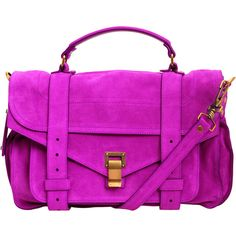 Proenza Schouler Hot Pink Large PS1 Suede Satchel ($1,185) ❤ liked on Polyvore