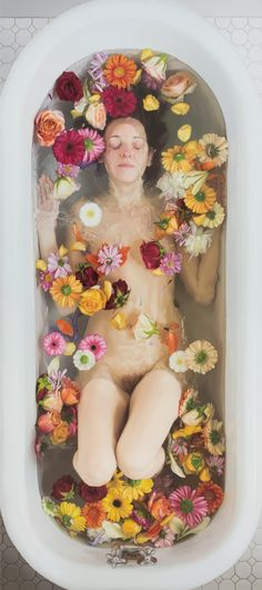 "Flowers    Oil on Linen    65"" x 29"" - - Lee Price"