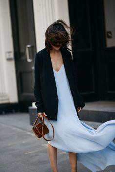 evening look: pastel slip dress with a black boyfriend blazer