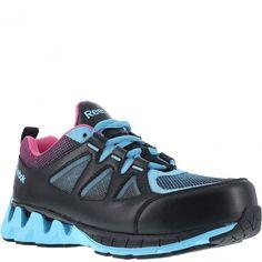 RB325 Reebok Women's ZigTech Safety Shoes - Blue/Pink www.bootbay.com