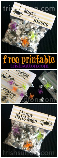Bugs & Kisses Halloween Treat Free Printable by TrishSutton.com - Perfect for Halloween Parties, Youth Groups, Neighbors, Classrooms, Friends & Family.  A silly & sweet Halloween Treat!