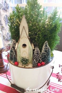 DIY Christmas Centerpieces - Little Church In The Woods Christmas Centerpiece - Simple, Easy Holiday Decorating Ideas on A Budget - Cheap Home and Table Decor for The Holidays - Dollar Store Crafts, Rustic Candles, Pine Cones, Floral Ideas and Mason Jar Craft Projects http://diyjoy.com/diy-christmas-centerpieces
