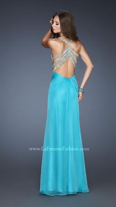 {La Femme 18809 | La Femme Fashion 2013} - La Femme Prom Dresses - Key Hole - Deep V - Chiffon - Strappy Back - Jewels