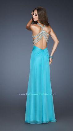 {La Femme 18809   La Femme Fashion 2013} - La Femme Prom Dresses - Key Hole - Deep V - Chiffon - Strappy Back - Jewels