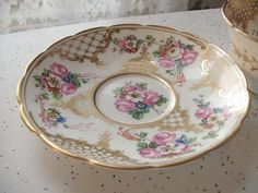 antique gold tea cup and saucer set Jackson and by ShoponSherman