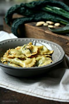 KALE, ROCCAVERANO & GOAT CHEESE-STUFFED MEZZELUNE with ALMOND BUTTER SAGE SAUCE [Italy] [conlemaninpasta]