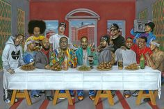 Hip-Hop Last Supper - Cast (left to right): ODB, Nate Dogg, Ludacris, Suge Knight, Eminem, Biggie, Snoop, Ice Cube, Eazy-E, Kanye, Jay-z, LL Cool J, and Tupac.