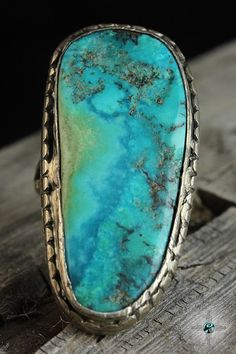 Long Old Natural Turquoise Vintage Navajo Sterling Silver Ring Size 11 - Turquoise Skies