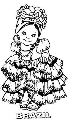 Free coloring pages brazil Coloring For Kids, Coloring Pages For Kids, Coloring Sheets, Coloring Books, World Thinking Day, Kids Around The World, World Crafts, Shrinky Dinks, Digi Stamps