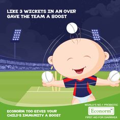 What an over, Delhi Daredevils! When three wickets in an over boosts the team's performance ensuring a win, Econorm too has probiotics to help boost your child's immunity and appetite!