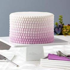 Purple Ombre Ruffled Cake - Ombre and ruffles are hot and trending, just like this stunning purple cake! You can easily create the ruffled look with our Lace Fondant and Gum Paste Mold. Rosette Cake, Ruffle Cake, Ruffles, Cupcakes, Cupcake Cakes, Bolo Lego, Purple Cakes, Frosting Tips, Star Cakes